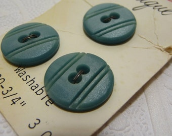 Blue Sage Buttons, Vintage Buttons, Plastic Buttons, Lansing Boutique, Three Buttons, Sewing Supplies, Original Card, Striped Buttons, Blue