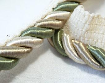 Vintage Braided Trim, Vintage Rope Trim, Green Cream Beige, Sewing Supplies, Edge Trim, Pillow Trim, 1 yard +, Decorative Trim,Embellishment