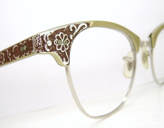 Vintage art craft cat eye eyeglasses frame decorative flower for Art craft eyeglasses vintage