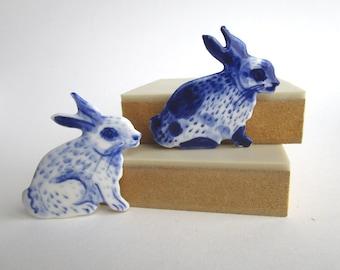 Bunny Brooch - Handpainted Blue Delft Porcelain - unique hand made - Dutch Blue- Spring