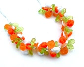 Fruit Salad Beaded Flower Necklace, Tangerine Orange Lime Green White Rose Plastic Glass Seed Bead Retro Jewelry