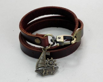 Leather Bracelet Leather Charm Bracelet Brown Color with Metal Sail Boat Charm Bronze Tone