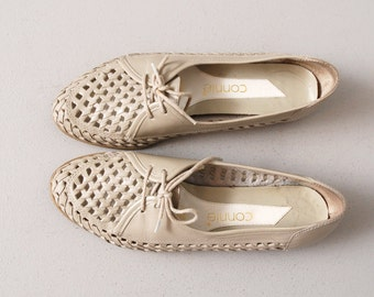 1980s Oxfords Flats - Gray Woven Leather Oxfords - Size 7