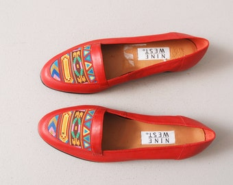 1990s Red Leather Loafer Slip Ons with Aztec Print - Size 8N
