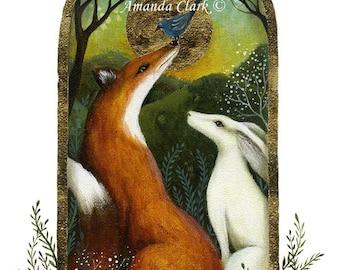 A fairytale art print . 'The Story Teller'  by Amanda Clark.