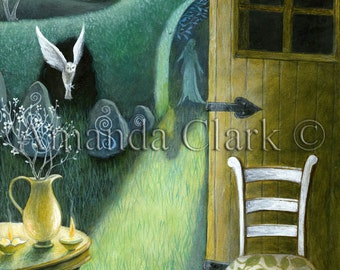 A fairy tale art print embellished with silver leaf. Art for Xmas,illustration for a story, 'Moon Shadow' by Amanda Clark.