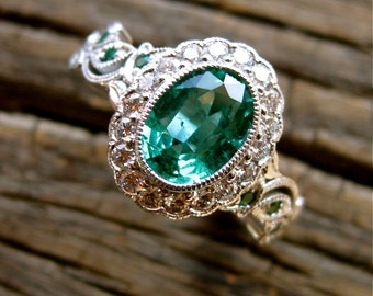 Green Emerald Vine Ring in 14K White Gold with Diamonds in Flower Buds & Leafs Size 6
