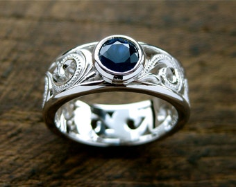 Blue Sapphire Ring in 14K White Gold with Antiquing on Large Scroll Work Size 6