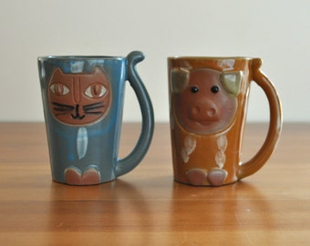 mid century cute cat and pig mugs