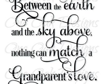 Grandparent's Love Quote Saying Cut File Digital Download SVG Vector PDF, dxf, png, for Cameo Silhouette Studio Software