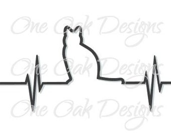 Kitty Cat EKG svg Vector dxf, pdf, ai, eps Design File for Cameo Silhouette Studio Version 2 or 3 for Vinyl Cut Car Decal or Print