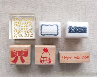 Wooden Ceramic Crystal Handle Rubber Stamp - Beautiful Lace Doily, , Red Girl and Bow Set, Happy New Year(Choose Pattern)