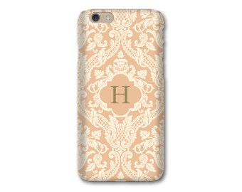 Peach iPhone 6 Case Damask iPhone 5S Case Monogram iPhone 6s Case, iPhone 6 Plus Case,