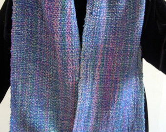 SCARF, Handdwoven, Blue, Purple, and Silver, Like a Morning Sky