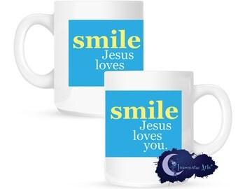 Smile, Jesus Loves You, Christian Faith 15 oz Coffee Mug