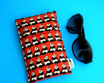 Roomy Sunglasses Case in a Japanese Design of Pandas