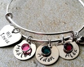 Personalized My Loves Bangle Bracelet -Alex and Ani Style-Hand Stamped Jewelry-Expandable Bracelet-Gift for Mom-Name Jewelry-Hand Stamped