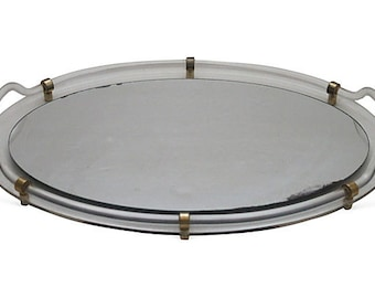 CLEARANCE - Vintage Oval Lucite Handled Vanity Tray