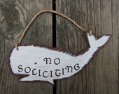 No Soliciting Sign Whale - Original Hand Painted Wood