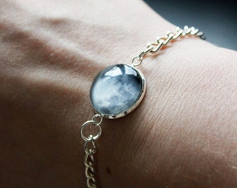 Custom Moon Phase Bracelet - Choice of phase Glass Dome full moon personalised moon bracelet chain