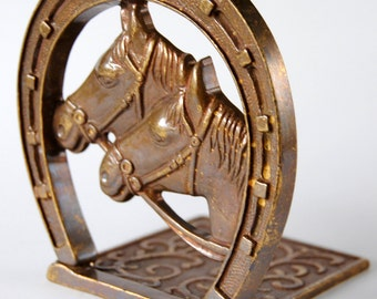 Brass Equestrian Bookend - brass