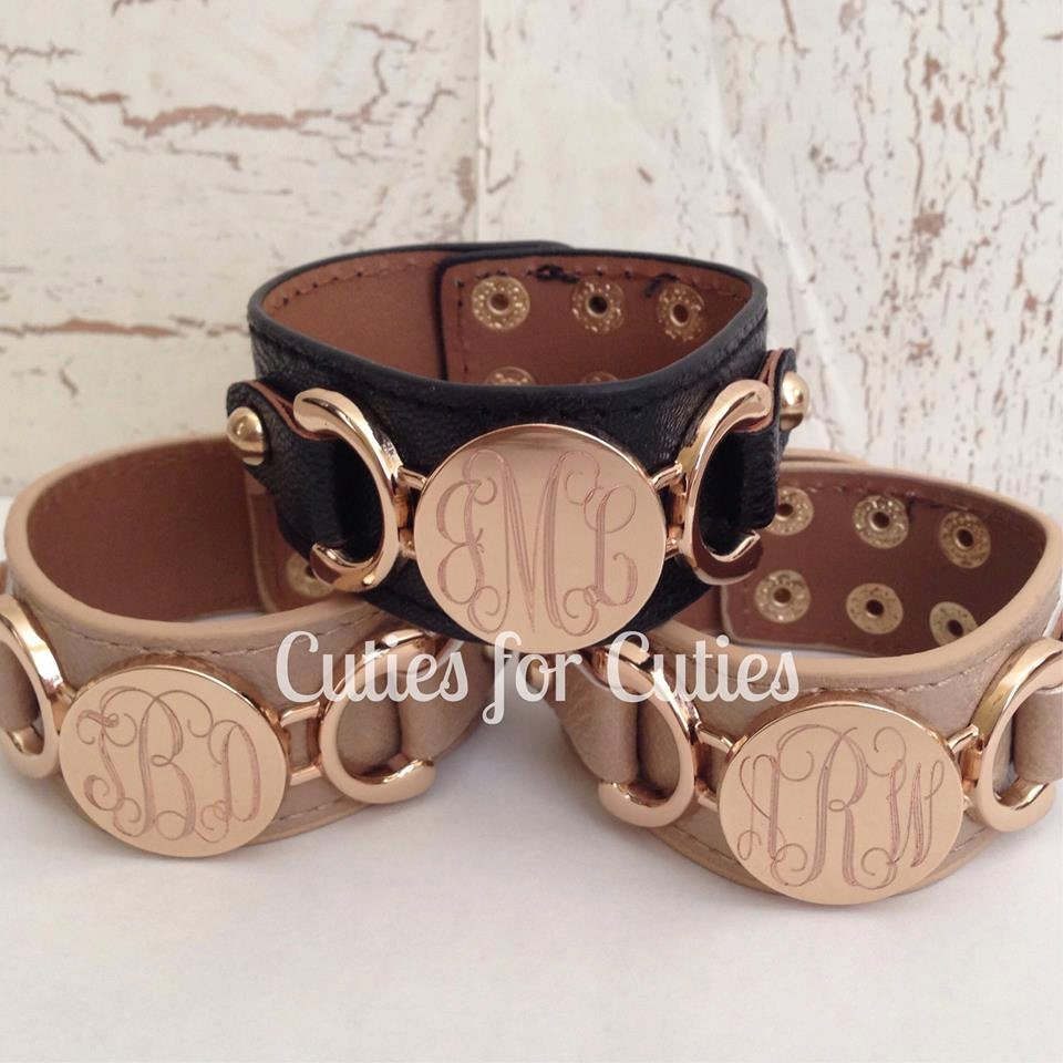 bracelet monogram cuff personalized engraved
