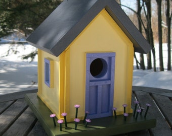Birdhouse Cottage, Two-tone Yellow with Blue Door