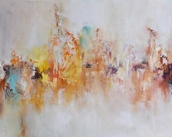 """Original Abstract Painting Modern Art Winter Landscape 12x16"""""""