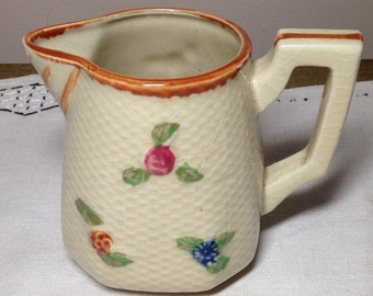 40s Pitcher Creamer Weave Pattern Small Flowers