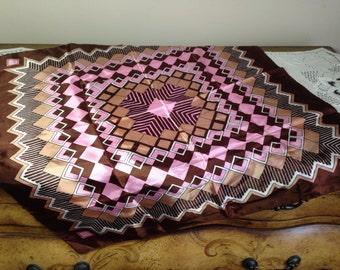 Vintage Scarf Pink Brown Bold Diamond Pattern 1970s Fashion