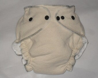 Hemp/Zorb fitted diaper with mocha swirl thread