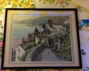 Vintage Print Clovelly Devon