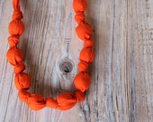 Tangerine organic cotton nursing / babywearing necklace - wooden beads and organic cotton - Free Shipping