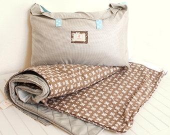 Waterproof  Picnic Blanket in brown and  blue