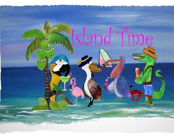 Island Time Throw Blanket from my original art
