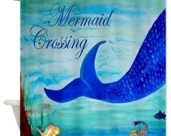 Mermaid Crossing Art Shower Curtain