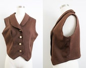 1970s Brown & White Dot Vest