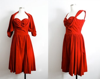 1950s Red Velvet Sweetheart Dress w/ matching bolero