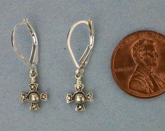 Tiny Sterling Silver Cross Earrings