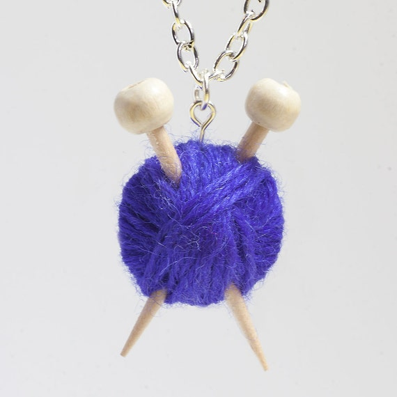 Purple Wool Knitting Necklace - Ball of Yarn and needles
