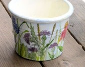 Hand Painted Clay Pot Botanical Flower Watercolor Illustration