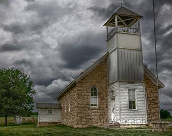 Buck Creek School - Stormy - Old School - Old Kansas School - 1800's - Native Stone Schoolhouse - Fine Art Photography