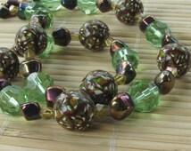Earth Tone Kaleidoscope Beaded Necklace for Women - Polymer Clay Statement Jewelry by Roz Petalz Studio