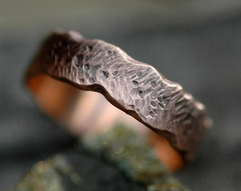 Oxidized Gold Band- Recycled Gold in Herringbone Texture- Custom Made Choose 14k or 18k White, Yellow, or Rose Gold