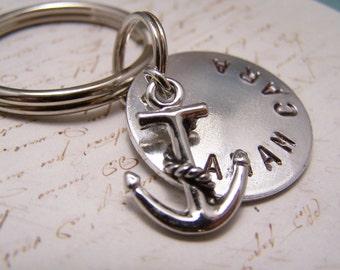 Friendship Keychain with Anchor Charm... Soul Friend Keychain... Anam Cara in Brushed Aluminum , Unisex Keychain. Keyring.