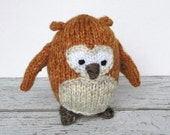 Hand Knit Stuffed Owl, Ready To Ship, Small Stuffed Animal, Kids Gift, Little Baby Toy, Newborn Photo Prop, Woodland Knit Toy Owl 4 1/2""