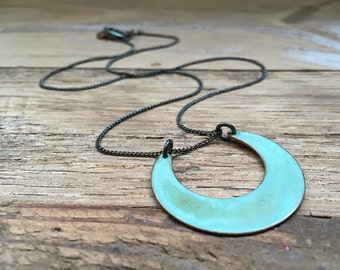 Green Verdigirs Mini Crescent Necklace