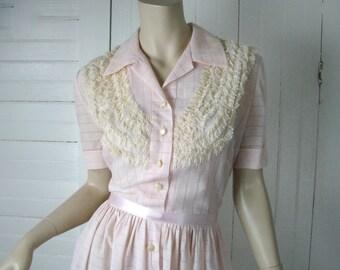 50s Pink Sugar Dress- 1950s Sheer Cotton & Lace Ruffles- Short Sleeve- Large- Rockabilly / Pin-up