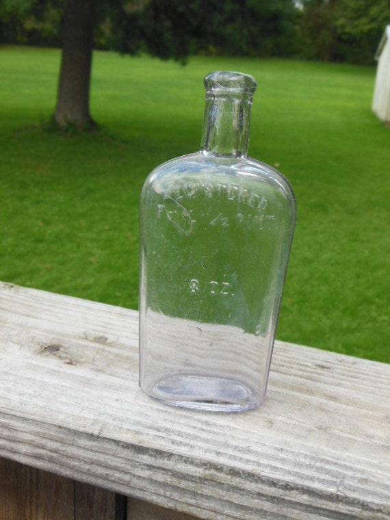 Vintage 8 Ounce Bottle Registered Full 1 2 Pint
