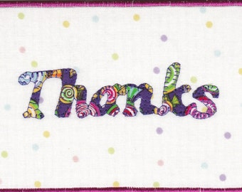 Thanks Quilted Fabric Postcard
